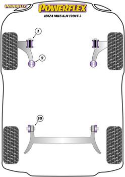 Powerflex Track Front Wishbone Front Bushes - Ibiza Mk5 KJ1 (2017 - ) - PFF85-201BLK