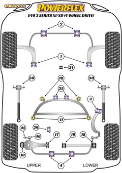 Powerflex Track Exhaust Mounting Bush & Bracket - E46 3 Series Xi/XD (4 Wheel Drive) - EXH035BLK