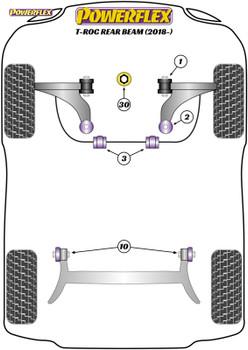 Powerflex Track Front Wishbone Rear Bushes, Caster Adjustable - T-Roc (2018 - ON) - PFF85-802GBLK