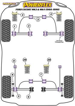 Powerflex Heritage Rear Wishbone To Hub Bushes - Escort Mk3 & 4, XR3i, Orion All Types (1980-1990) - PFR19-219H