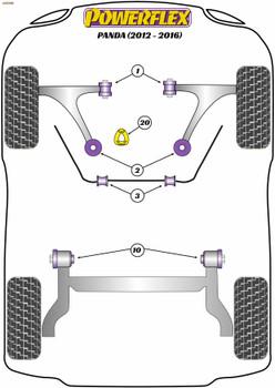 Powerflex Track Lower Engine Mount Insert - Panda Gen 3 312/319 (2012 - 2016) - PFF16-520BLK