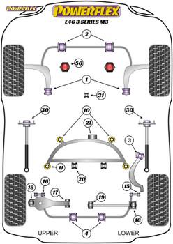 Powerflex Heritage Rear Upper Wishbone Inner Bushes - E46 3 Series M3 - PFR5-4617H