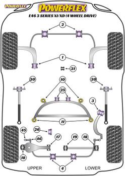 Powerflex Heritage Rear Lower Wishbone Outer Bushes - E46 3 Series Xi/XD (4 Wheel Drive) - PFR5-4618H