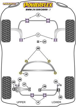 Powerflex Heritage Rear Lower Wishbone Inner Bushes - Z4 E89 (2009 -)  - PFR5-4616H