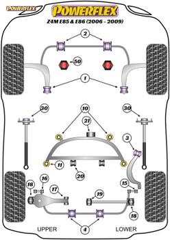 Powerflex Heritage Rear Lower Wishbone Inner Bushes - Z4M E85 & E86 (2006-2009) - PFR5-4616H