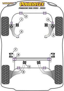 Powerflex Heritage Rear Pivot Strut To Tube Bushes - 968 (1992-1995) - PFR57-223H