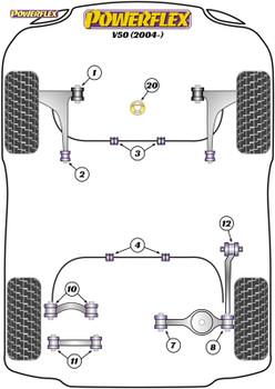 Powerflex Track Lower Torque Mount Bracket & Bush, Track Use - V50 (2004 onwards) - PFF19-1822BLK