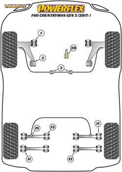 Powerflex Track Front Arm Rear Caster Offset Bushes - F60 Countryman Gen 2 (2017 - ON) - PFF5-1302GBLK