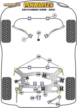 Powerflex Track Rear Anti Roll Bar Mounting Bushes 15mm - E84 X1 XDRIVE (2008-2015) - PFR5-4609-15BLK