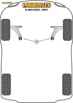 Powerflex Front Arm Rear Bushes, Caster Adjustable - B-Max (2012-2017) - PFF19-1502G