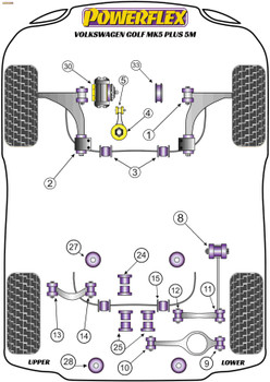 Powerflex Jacking Point Insert Kit of 4 - Golf Plus 5M - PF3-1663K