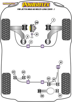 Powerflex Jacking Point Insert Kit of 4 - Jetta MK6 A6 Multi-Link (2011 - ON) - PF3-1663K