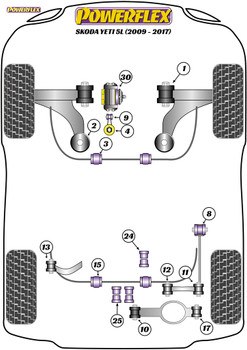Powerflex Track Rear Diff Front Mounting Bush - Yeti 5L (2009 - 2017) - PFR85-523BLK