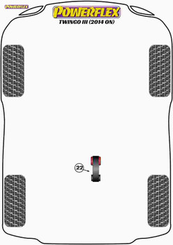 Powerflex Lower Torque Mount, 3 Cylinder - Twingo III (2014 on) - PFF60-1422R