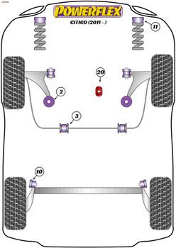 Powerflex Track Lower Torque Mount Large Bush Insert (Motorsport) - Citigo (2011 -) - PFF85-1922BLK