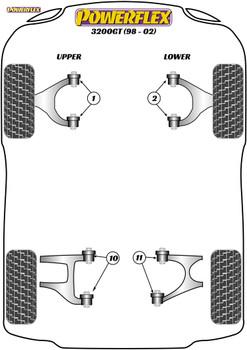 Powerflex Rear Upper Wishbone Inner Bush - 3200GT (1988 - 2002) - PFR17-411