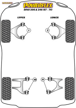 Powerflex Rear Upper Wishbone Inner Bush - Dino 206/246GT (1967 - 1974) - PF17-200