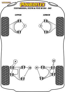 Powerflex Rear Upper Wishbone Outer Bush - Testarossa, 512TR and 512M (1986 - 1994) - PF17-200