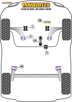 Powerflex Track Upper Engine Mount Insert - Clio IV inc RS (2012 - 2019) - PFF60-1420BLK