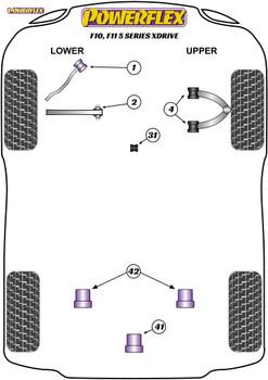 Powerflex Track Front Upper Wishbone Bush Camber Adjustable - F10, F11 5 Series xDrive - PFF5-6004GBLK