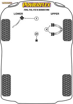 Powerflex Track Front Upper Wishbone Bush  - F06, F12, F13 6 Series M6 - PFF5-6004BLK