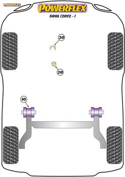 Powerflex Track Upper Gearbox Mount Insert - 500L (2012 - ) - PFF1-1130BLK