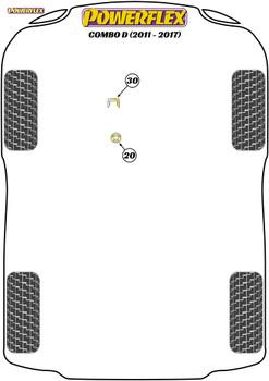 Powerflex Upper Gearbox Mount Insert (Diesel) - Combo D (2011 - 2017) - PFF1-1130R