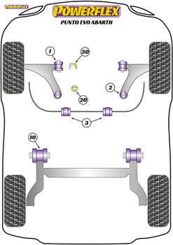 Powerflex Track Upper Gearbox Mount Insert (Track) - Punto Evo Abarth (2009 - 2015) - PFF80-1130BLK