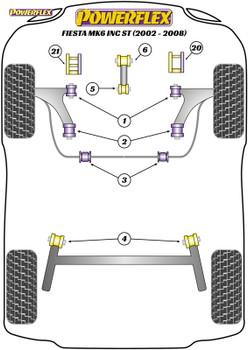 Powerflex Track Front Wishbone Rear Bush Caster Offset - Fiesta Mk6 inc ST (2002-2008) - PFF19-1102GBLK