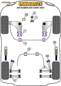 Powerflex Upper Gearbox Mount Insert (Petrol/Tuned Diesel) - R55 Clubman Gen 1 (2007 - 2014) - PFF5-225