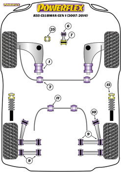 Powerflex Track Upper Gearbox Mount Insert (Track) - R55 Clubman Gen 1 (2007 - 2014) - PFF5-225BLK
