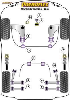 Powerflex Upper Gearbox Mount Insert (Petrol/Tuned Diesel) - R58 Coupe (2011 - 2015) - PFF5-225