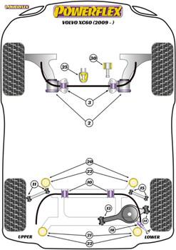 Powerflex Track Rear Anti-Roll Bar Bushes - XC60 (2009 onwards) - PFR19-1910-21.3BLK