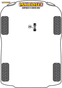 Powerflex Track Lower Torque Mount - Espace V (2015 on) - PFF60-8026BLK