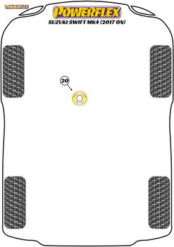 Powerflex Track Lower Engine Mount Insert - Swift MK4 A2L Excl. Sport (2017 on) - PFF73-523BLK