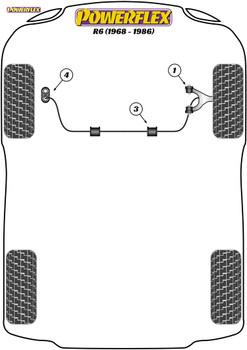 Powerflex Front Anti-Roll Bar Mounting Bushes 21mm - 6 (1968 - 1986) - PFF60-1503-21