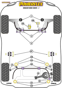 Powerflex Front Wishbone Front Bushes - V60 (2011 on) - PFF88-1901