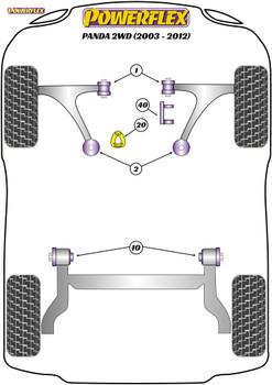 Powerflex Track Upper Engine Mount Insert - Panda 2WD (2003-2012) - PFF16-540BLK