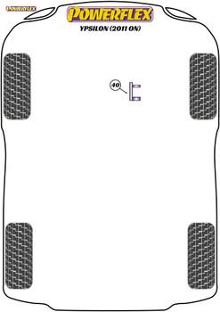 Powerflex Track Upper Engine Mount Insert - Ypsilon (2011 on) - PFF16-540BLK