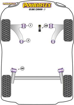 Powerflex Front Arm Rear Bushes Caster Offset - Cube (2009 on ) - PFF60-902G