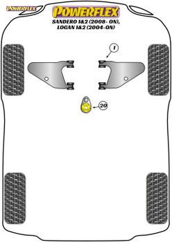 Powerflex Track Lower Engine Mount Insert - Logan I & II (2004 - ON) - PFF60-920BLK