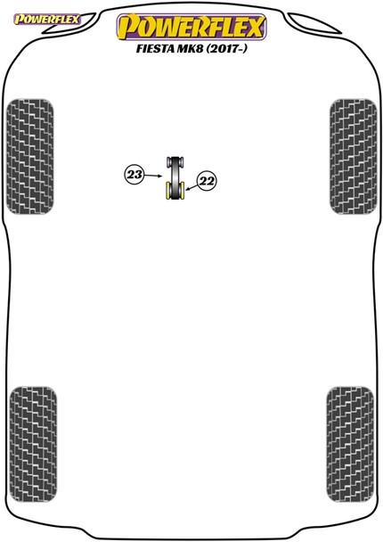 Powerflex Track Lower Torque Mount Large Bush Insert  - Fiesta MK8 (2017 - ON) - PFF19-2225BLK
