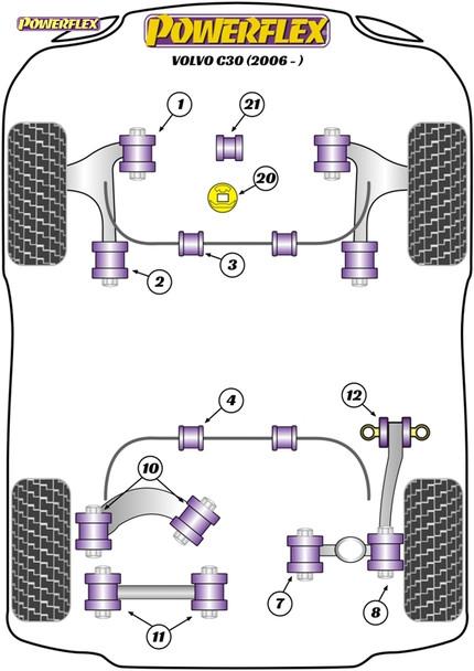 Powerflex Track Front Wishbone Rear Bush Anti-Lift & Caster Offset - C30 (2006 onwards) - PFF19-1002GBLK