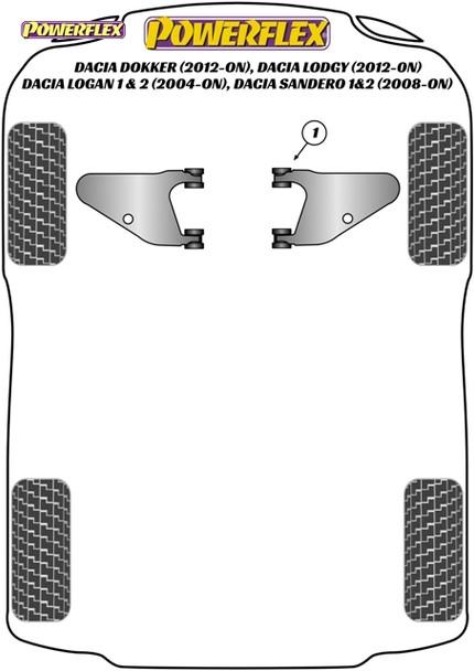 Powerflex Front Lower Wishbone Bushes - Sandero I & II inc Stepway (2008 - ON)