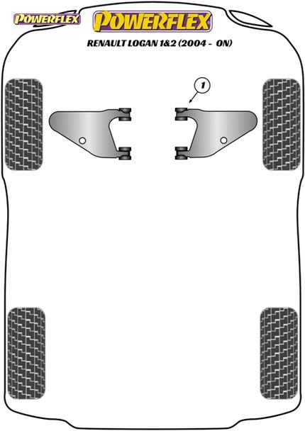 Powerflex Front Lower Wishbone Bushes - Renault Sandero I & II inc Stepway (2008 - ON)