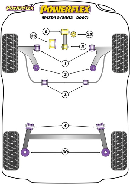 Powerflex Track Lower Engine Mount Bracket & Bushes, Track Use  - Mazda 2 (2003 - 2007) - PFF19-2020BLK