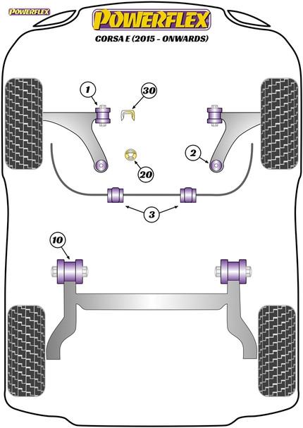Powerflex Upper Gearbox Mount Insert (Petrol/Tuned Diesel) - Corsa E (2015 - Onwards) - PFF80-1130
