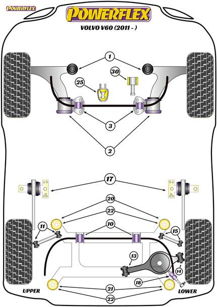 Powerflex Track Lower Engine Mount Insert - V60 (2011 on) - PFF88-1130BLK