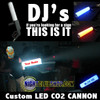 "Check out our new version of the Custom ""LED CO2 CANNON 2.0"" Now with new Front Facing ""LED Lights"" that Illuminate and Light up the Cryogenic Plume in any color you choose! Have Nightclubshop add your Name/Logo/Text to the LED BARREL and turn some heads at your next show! #LED #CO2 #CRYO #GUN #CANNON #CO2Gun"