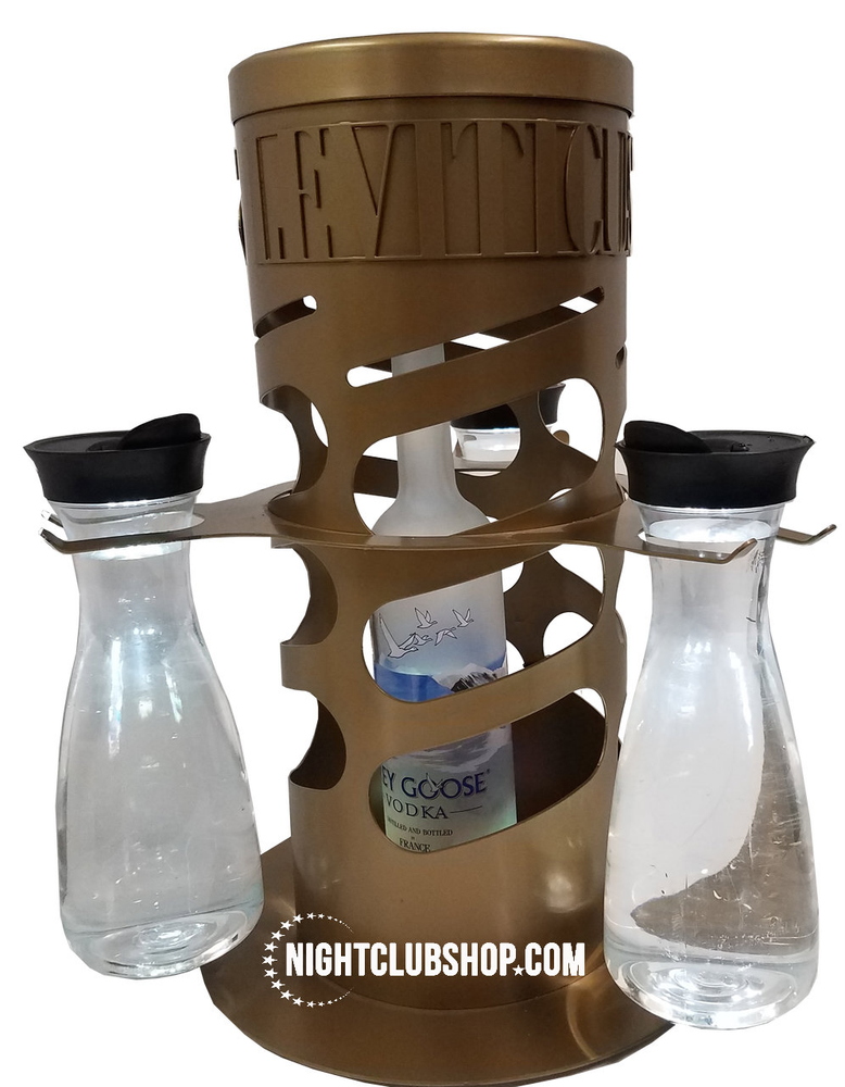 """Leviticus"" Your Logo - Limited Edition GOLD VIP Bottle Service Cage and Lock Tray - Energy 7 Locking Cage"